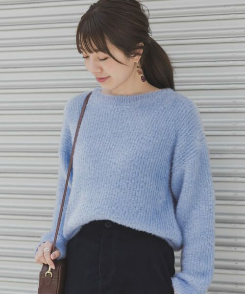 Sonny Label / サニーレーベル ニット・セーター   ラメ片畦ニットプルオーバー(BLUE)