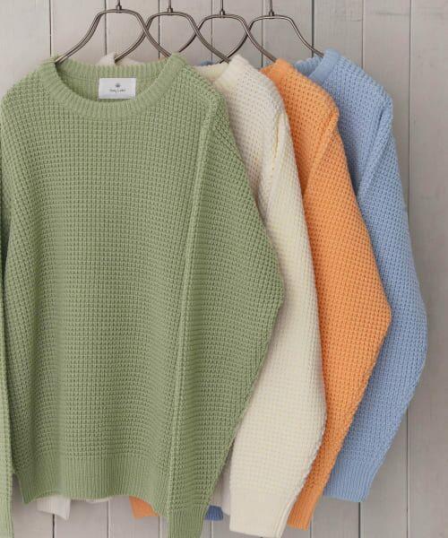 Sonny Label / サニーレーベル ニット・セーター | ワッフル編みスプリングニット(グリーン)