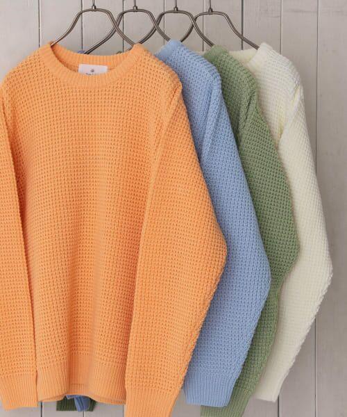 Sonny Label / サニーレーベル ニット・セーター | ワッフル編みスプリングニット(オレンジ)