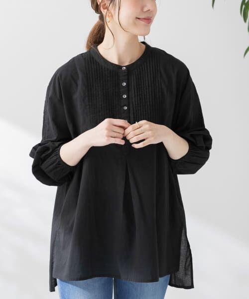 Sonny Label / サニーレーベル シャツ・ブラウス | コットンタックドレスシャツ(ブラック)