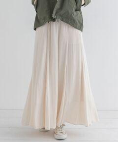 裾に向かって広がるフレアシルエットで女性らしさ際立つロングスカート。<br>落ち感のある素材感とマチ切り替えデザインで気になる腰回りをカバー。シーズンレスで着用可能なので1枚持ってると便利なアイテムです。<br><br>※直射日光や蛍光灯に長時間あたると変色したり、色褪せすることがありますのでご注意ください。<br><br>※商品画像は、光の当たり具合やパソコンなどの閲覧環境により、実際の色味と異なって見える場合がございます。予めご了承ください。<br>※商品の色味の目安は、商品単体の画像をご参照ください。<br><br>-----------------------------<br>透け感:なし<br>伸縮性:なし<br>裏地:あり<br>光沢:ややあり<br>ポケット:あり<br>-----------------------------