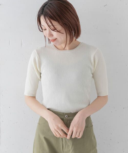 Sonny Label / サニーレーベル Tシャツ   ベーシックリブニットTシャツ(オフ)