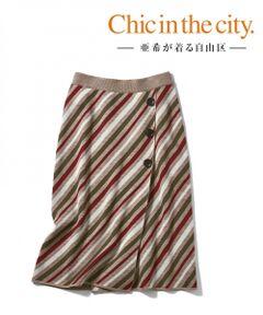 【亜希さん着用】レジメンタルストライプニットスカート(検索番号S59)