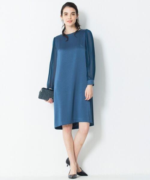 S size ONWARD(小さいサイズ) / エスサイズオンワード ドレス | シフォンスリーブサテン ワンピース | 詳細1