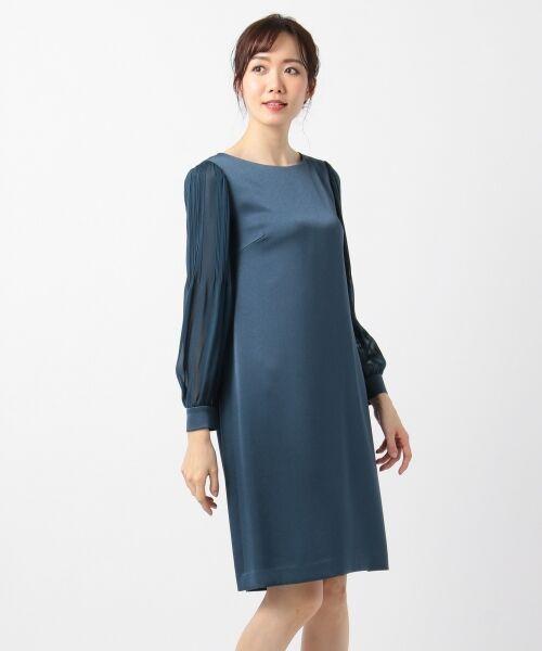 S size ONWARD(小さいサイズ) / エスサイズオンワード ドレス | シフォンスリーブサテン ワンピース | 詳細2