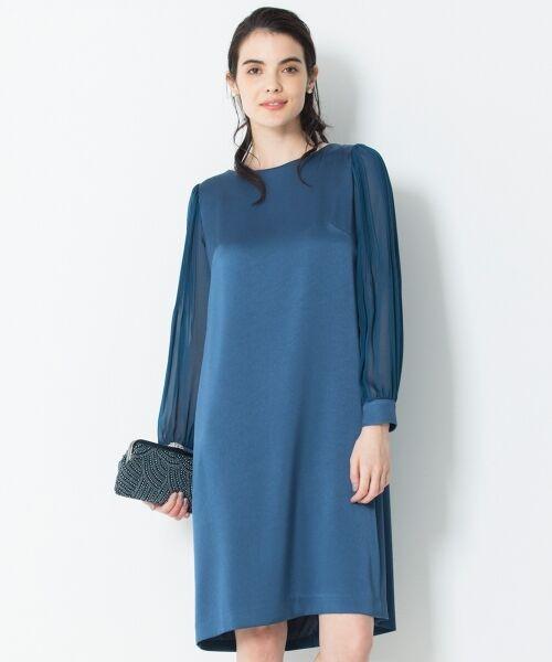 S size ONWARD(小さいサイズ) / エスサイズオンワード ドレス | シフォンスリーブサテン ワンピース(ピーコックグリーン系)