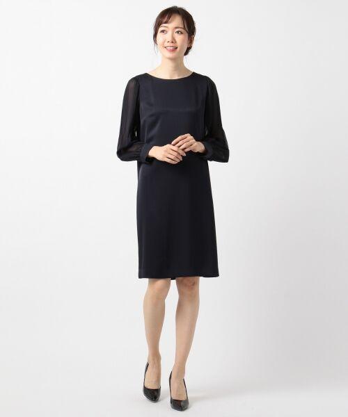 S size ONWARD(小さいサイズ) / エスサイズオンワード ドレス | シフォンスリーブサテン ワンピース | 詳細11