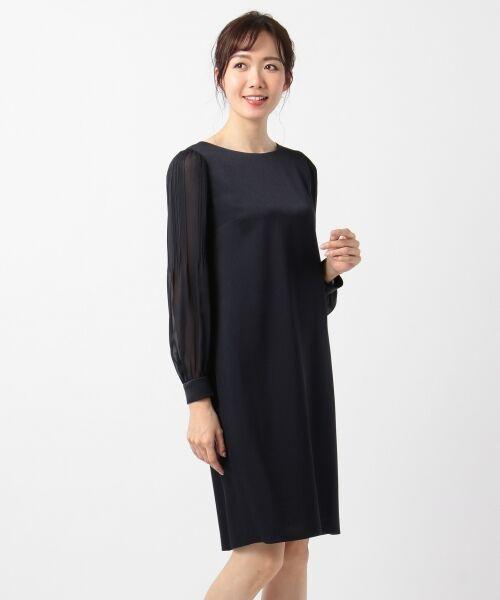 S size ONWARD(小さいサイズ) / エスサイズオンワード ドレス | シフォンスリーブサテン ワンピース | 詳細12