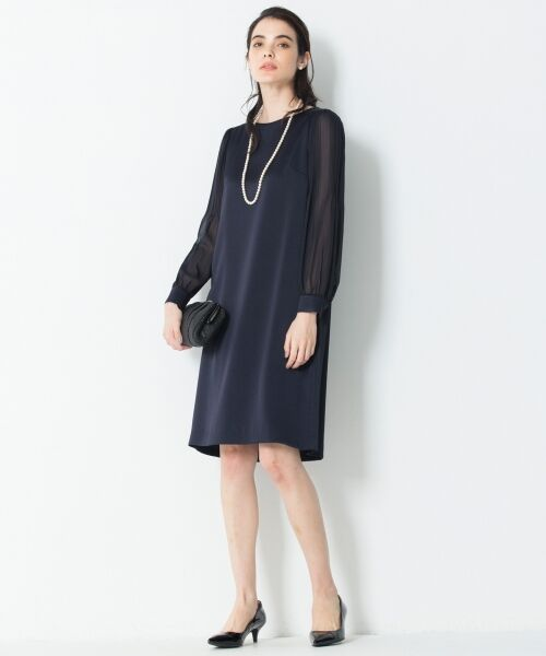 S size ONWARD(小さいサイズ) / エスサイズオンワード ドレス | シフォンスリーブサテン ワンピース | 詳細3