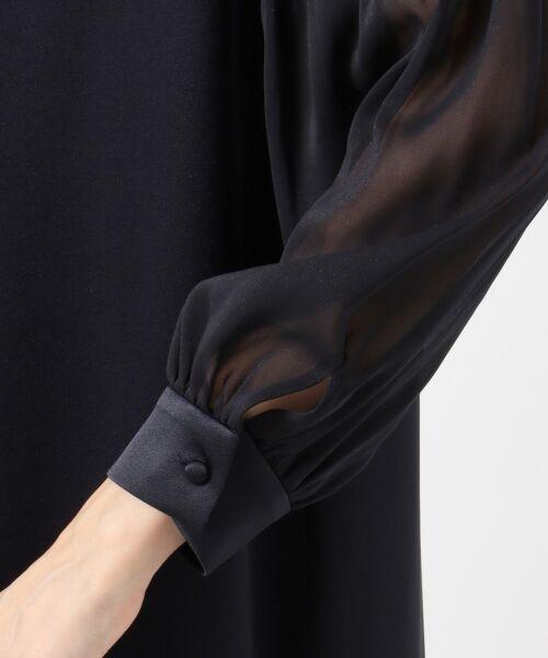 S size ONWARD(小さいサイズ) / エスサイズオンワード ドレス | シフォンスリーブサテン ワンピース | 詳細7