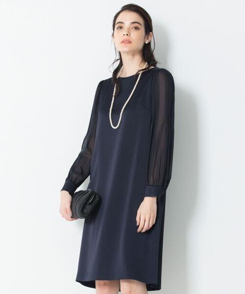 S size ONWARD(小さいサイズ) / エスサイズオンワード ドレス | シフォンスリーブサテン ワンピース(ネイビー系)