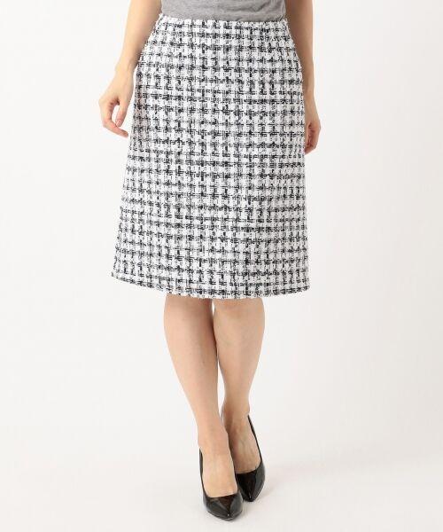 S size ONWARD(小さいサイズ) / エスサイズオンワード ミニ・ひざ丈スカート | 【セットアップ対応】CLALENSON チェックツイード スカート(ネイビー系1)