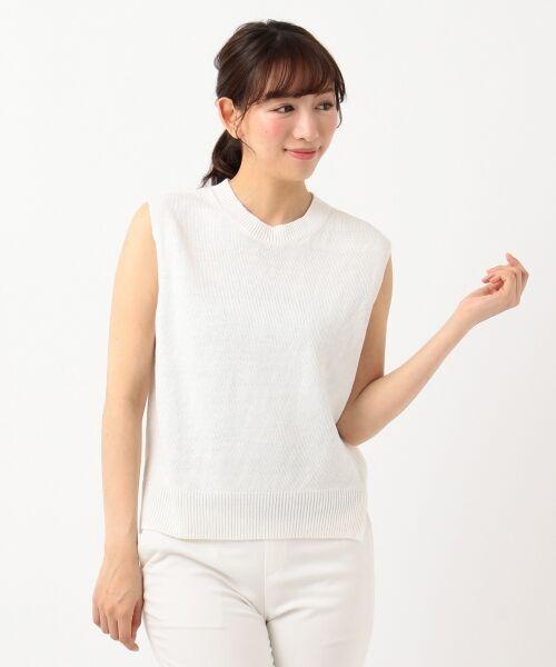 S size ONWARD(小さいサイズ) / エスサイズオンワード ニット・セーター | 【マガジン掲載】ピュアリネン バルキーニットベスト(検索番号H23)(ホワイト系)