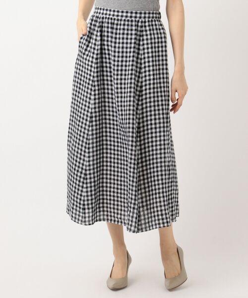 S size ONWARD(小さいサイズ) / エスサイズオンワード ミニ・ひざ丈スカート | 【マガジン掲載】LIBECO リネンロング スカート(検索番号K25)(モノクロチェック)