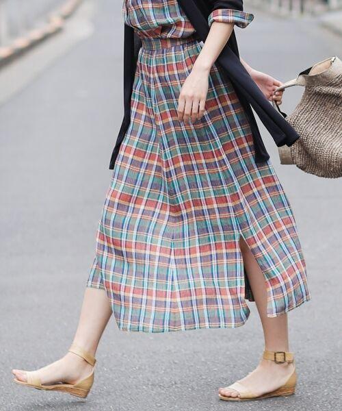 S size ONWARD(小さいサイズ) / エスサイズオンワード ミニ・ひざ丈スカート | 【マガジン掲載】LIBECO リネンロング スカート(検索番号K25)(マドラスチェック)