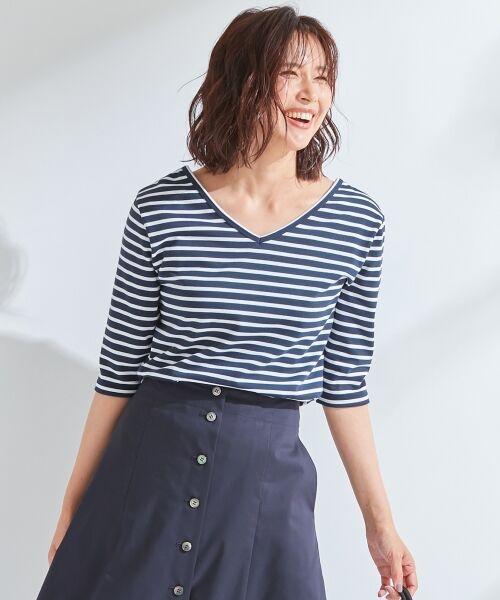 S size ONWARD(小さいサイズ) / エスサイズオンワード Tシャツ | 【中村アンさん着用】ALBINI コットンボーダー カットソー(ネイビー系1)