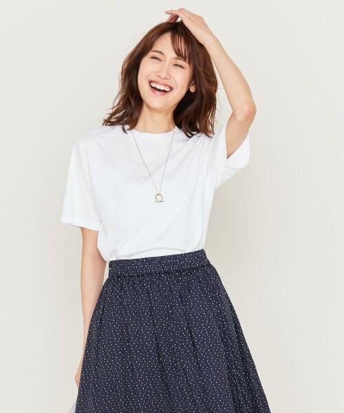 S size ONWARD(小さいサイズ) / エスサイズオンワード Tシャツ | 【洗える】コットンプレミアム天竺 カットソー(ホワイト系)