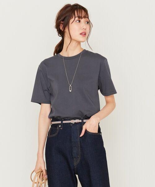 S size ONWARD(小さいサイズ) / エスサイズオンワード Tシャツ | 【洗える】コットンプレミアム天竺 カットソー(グレー系)
