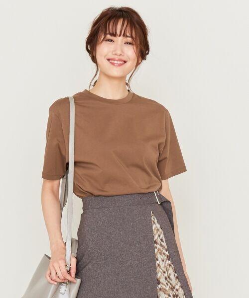 S size ONWARD(小さいサイズ) / エスサイズオンワード Tシャツ | 【洗える】コットンプレミアム天竺 カットソー(ダークブラウン系)