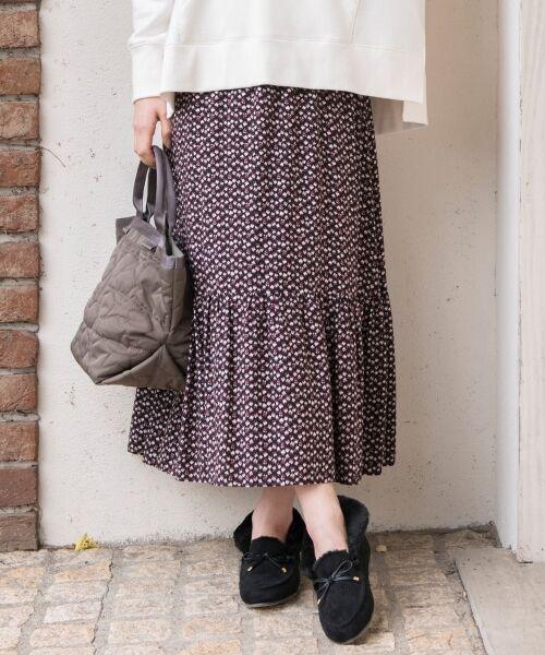 S size ONWARD(小さいサイズ) / エスサイズオンワード ミニ・ひざ丈スカート | 【L'aube】アンティークフラワーロング スカート(ブラック系5)