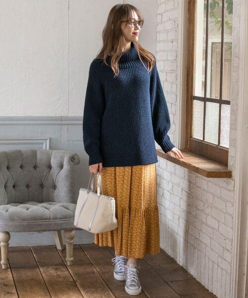 S size ONWARD(小さいサイズ) / エスサイズオンワード ミニ・ひざ丈スカート | 【L'aube】アンティークフラワーロング スカート | 詳細8