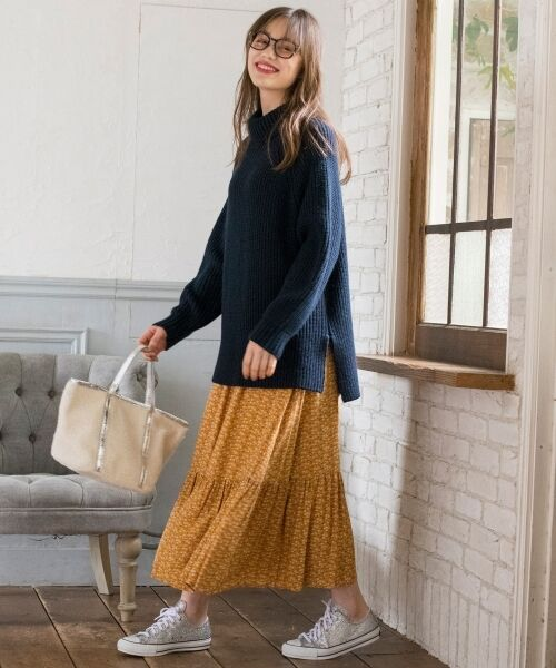 S size ONWARD(小さいサイズ) / エスサイズオンワード ミニ・ひざ丈スカート | 【L'aube】アンティークフラワーロング スカート | 詳細9