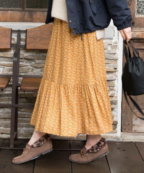 S size ONWARD(小さいサイズ) / エスサイズオンワード ミニ・ひざ丈スカート | 【L'aube】アンティークフラワーロング スカート(オレンジ系5)