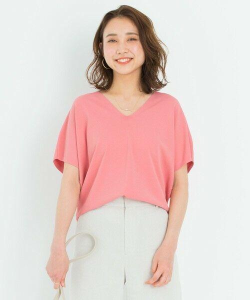 S size ONWARD(小さいサイズ) / エスサイズオンワード ニット・セーター | 【洗える】レーヨンポリエステル ストレッチ Vネック ニット(ピンク系)