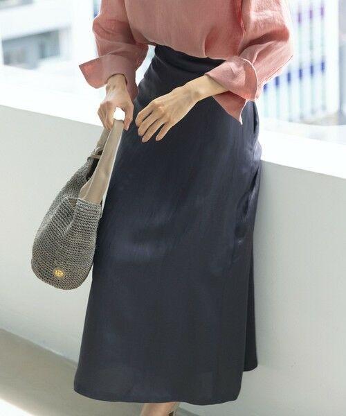 S size ONWARD(小さいサイズ) / エスサイズオンワード ミニ・ひざ丈スカート   【中村アンさん着用】リネンビスコースツイル フレアスカート(番号2K35)(グレー系)