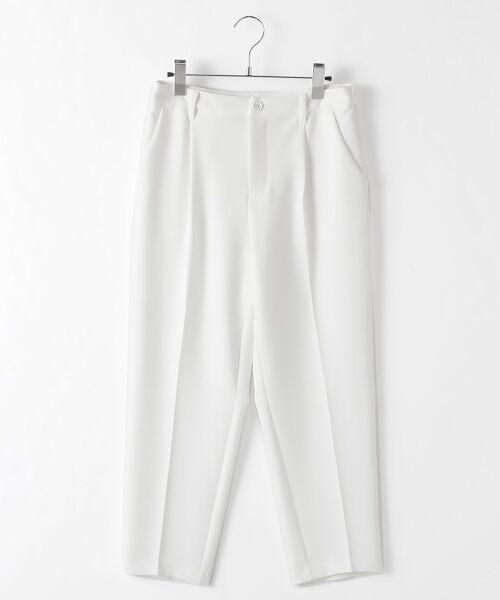 TABASA / タバサ スラックス・ドレスパンツ | 2WAYストレッチワンタックテーパードパンツ(シロ)