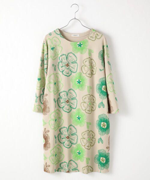 TABASA / タバサ ロング・マキシ丈ワンピース | レーヨンポリエステルストレッチポンチフラワー刺繍ワンピース(ベージュ)