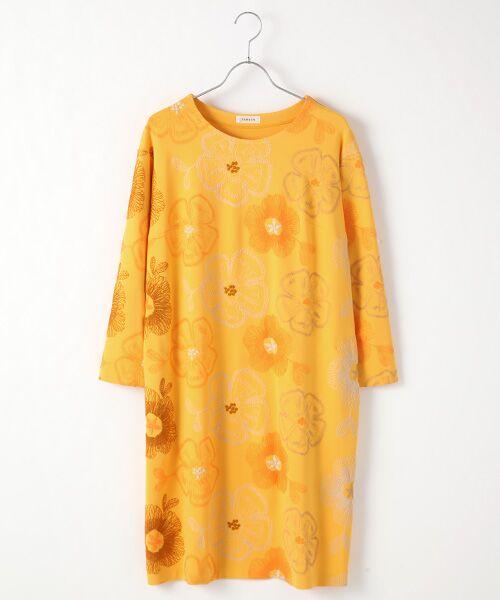 TABASA / タバサ ロング・マキシ丈ワンピース | レーヨンポリエステルストレッチポンチフラワー刺繍ワンピース(イエロー)