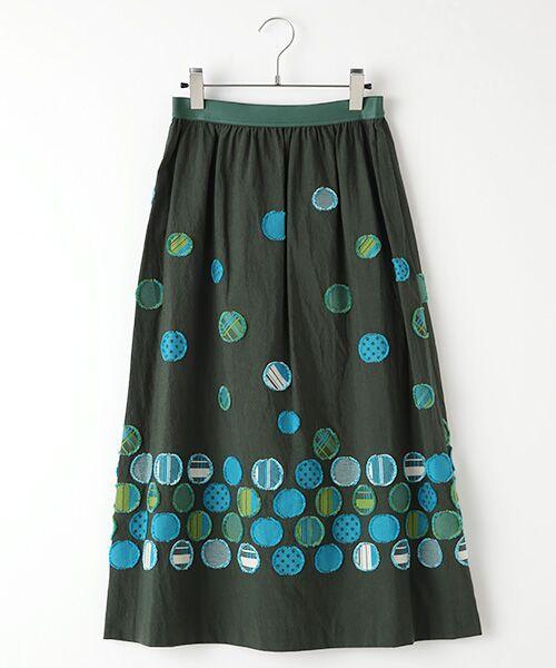 TABASA / タバサ ミニ・ひざ丈スカート | ドットパネルジャガードスカート(グリーン)