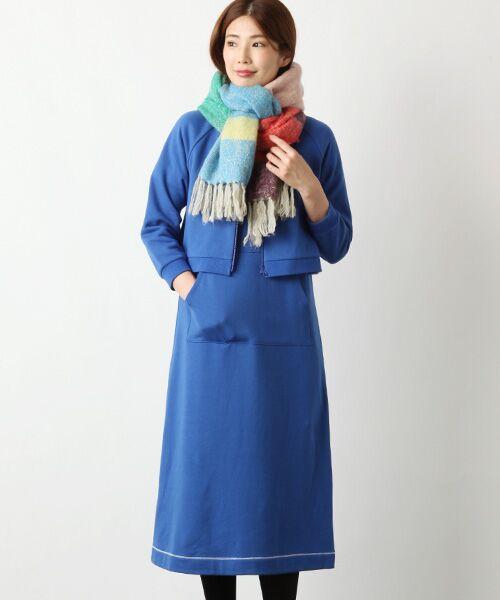 TABASA / タバサ ロング・マキシ丈ワンピース | コットン裏毛王冠プリント半袖ワンピース(ブルー)
