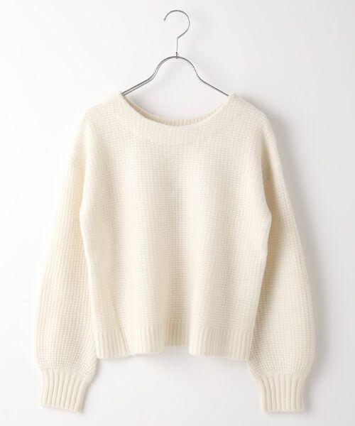 TAKASHIMAYA OUTLET / タカシマヤ アウトレット ニット・セーター   袖ボリューム片畦ニット(WHITE)