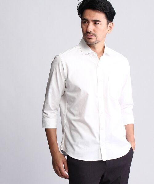 クレイジーパターンブロッキング7分袖シャツ