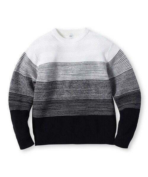 TAKEO KIKUCHI / タケオキクチ ニット・セーター | 【Sサイズ~】コットンアクリル メランジパネルボーダーニット | 詳細1