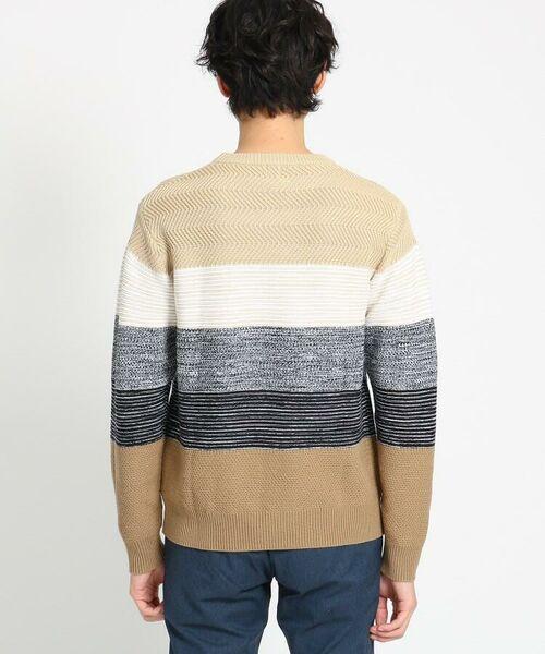TAKEO KIKUCHI / タケオキクチ ニット・セーター | 【Sサイズ~】コットンアクリル メランジパネルボーダーニット | 詳細10