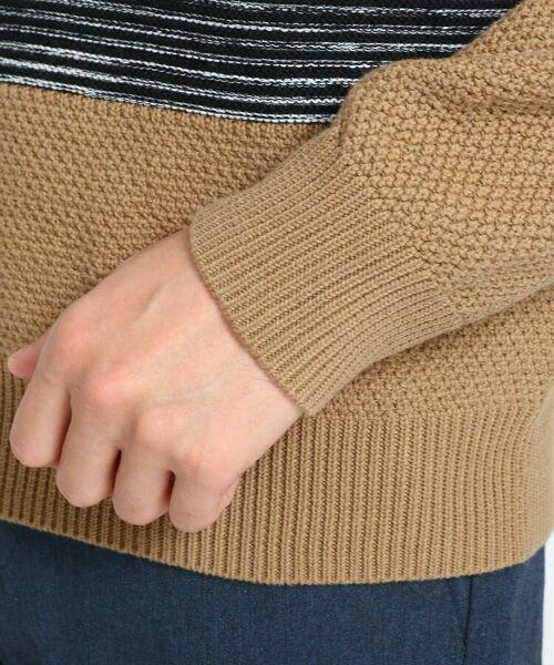 TAKEO KIKUCHI / タケオキクチ ニット・セーター | 【Sサイズ~】コットンアクリル メランジパネルボーダーニット | 詳細13