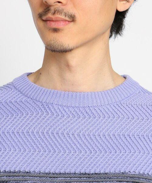 TAKEO KIKUCHI / タケオキクチ ニット・セーター | 【Sサイズ~】コットンアクリル メランジパネルボーダーニット | 詳細19