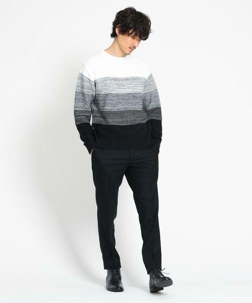 TAKEO KIKUCHI / タケオキクチ ニット・セーター | 【Sサイズ~】コットンアクリル メランジパネルボーダーニット | 詳細25