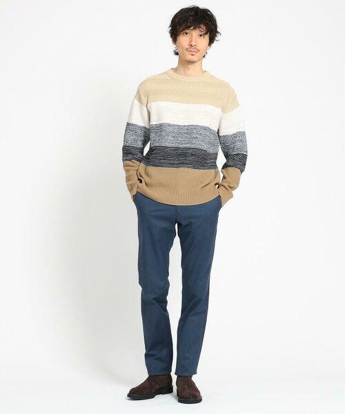 TAKEO KIKUCHI / タケオキクチ ニット・セーター | 【Sサイズ~】コットンアクリル メランジパネルボーダーニット | 詳細26