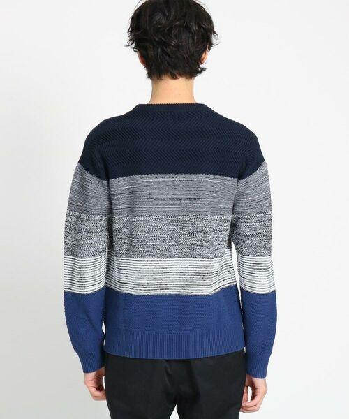 TAKEO KIKUCHI / タケオキクチ ニット・セーター | 【Sサイズ~】コットンアクリル メランジパネルボーダーニット | 詳細3