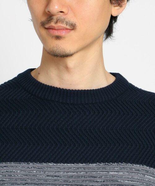 TAKEO KIKUCHI / タケオキクチ ニット・セーター | 【Sサイズ~】コットンアクリル メランジパネルボーダーニット | 詳細4