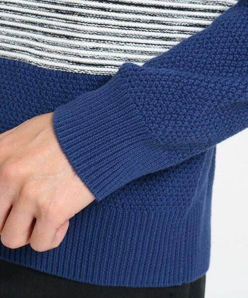 TAKEO KIKUCHI / タケオキクチ ニット・セーター | 【Sサイズ~】コットンアクリル メランジパネルボーダーニット | 詳細5