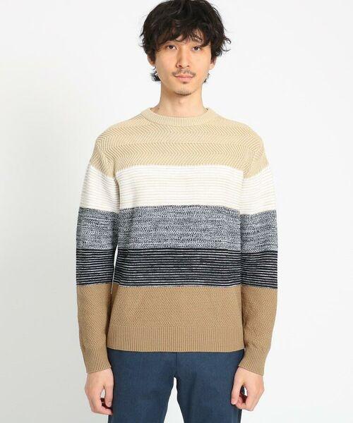 TAKEO KIKUCHI / タケオキクチ ニット・セーター | 【Sサイズ~】コットンアクリル メランジパネルボーダーニット | 詳細8