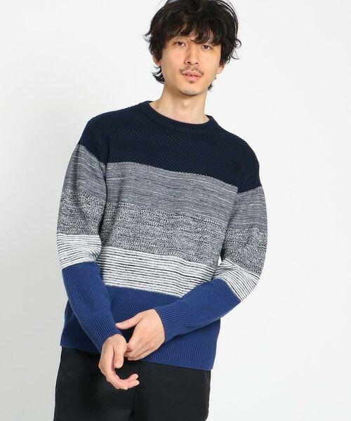 TAKEO KIKUCHI / タケオキクチ ニット・セーター | 【Sサイズ~】コットンアクリル メランジパネルボーダーニット(ネイビー(393))