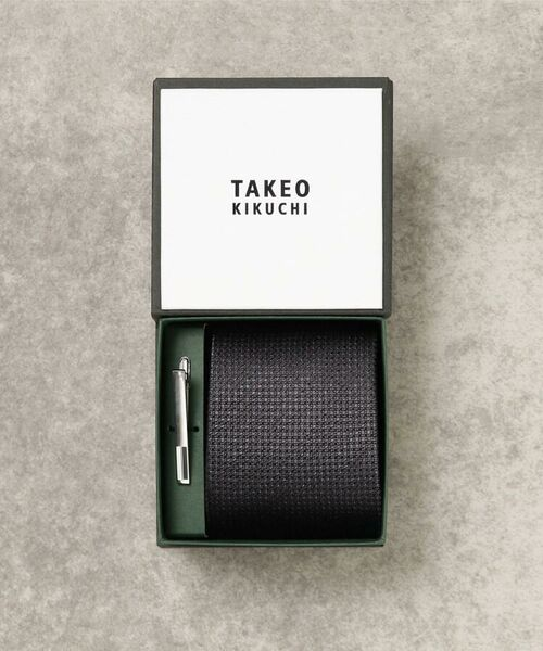 TAKEO KIKUCHI / タケオキクチ ネクタイ | 【WEB限定】贈答 GIFT カラーBOX タイバーセット(ブラック(019))