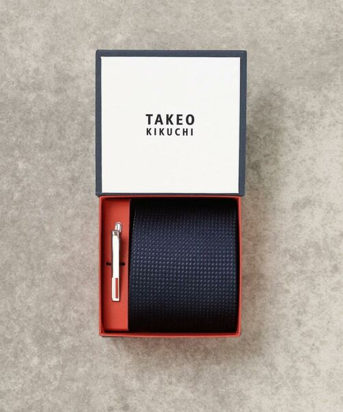 TAKEO KIKUCHI / タケオキクチ ネクタイ | 【WEB限定】贈答 GIFT カラーBOX タイバーセット(ネイビー(093))