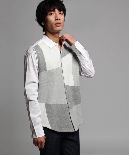 ニットドッキング パッチワークシャツ